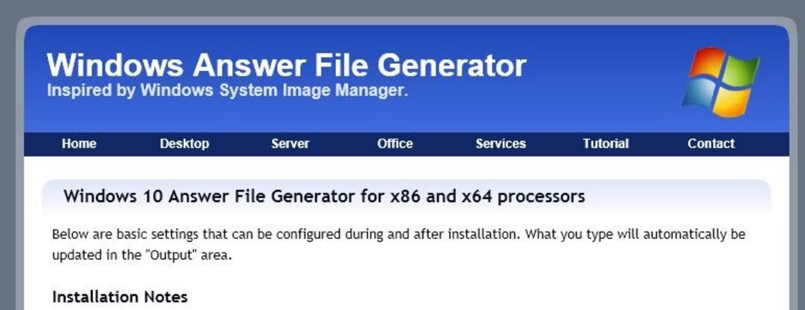 Windows Unattended Answer File Generator