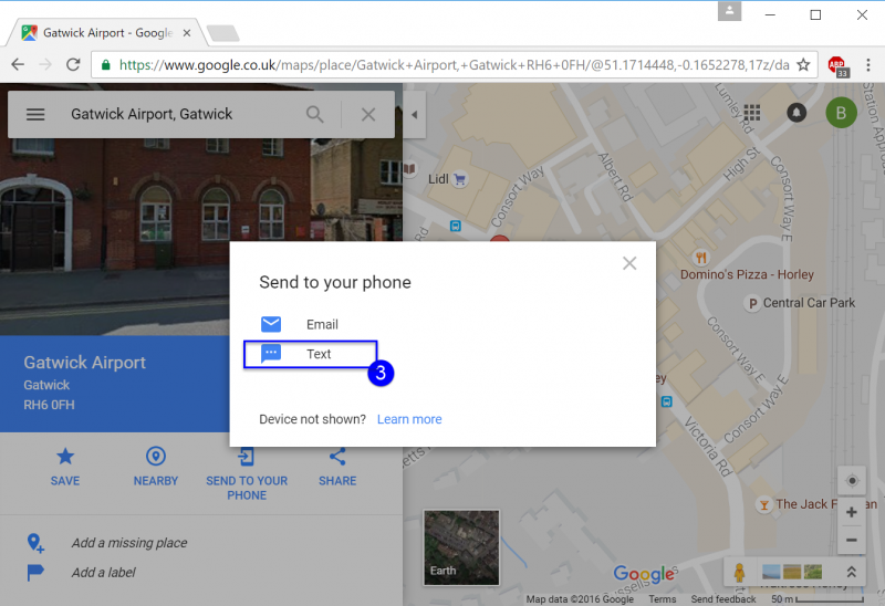 Send Google Maps Directions from a PC to your Phone