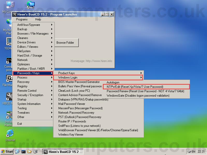 remove windows 7 password hirens