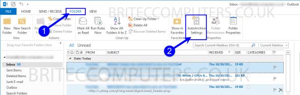 folder-Auto Archive-settings