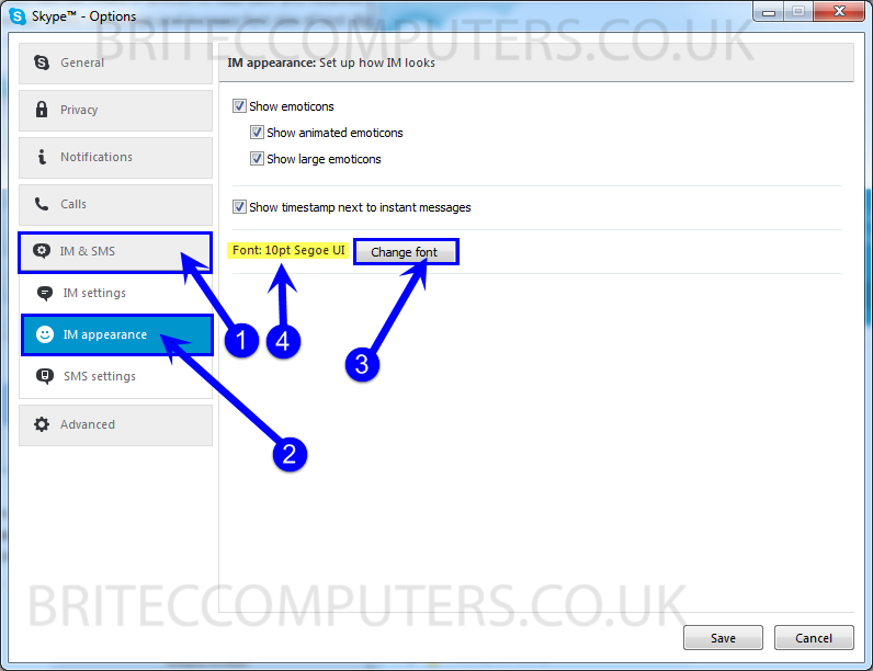 Change Font Size in Skype and Windows -