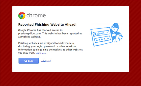 Google chrome phishing web site ahead