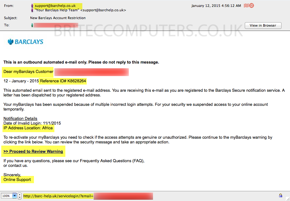 Phishing Barclays Bank email