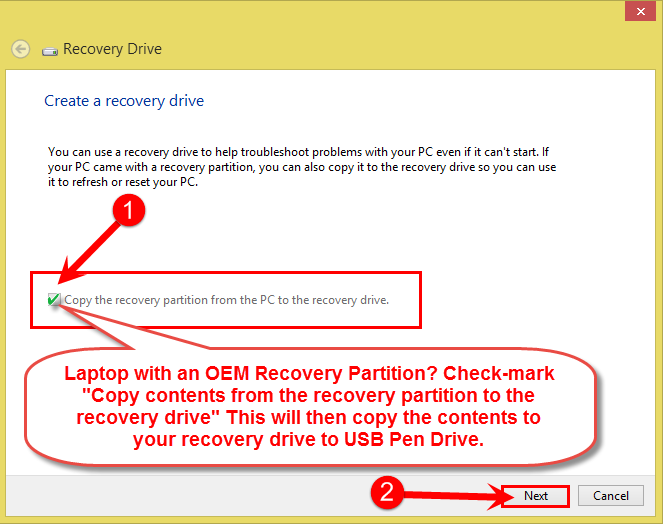 Copy contents from the recovery partition to the recovery drive