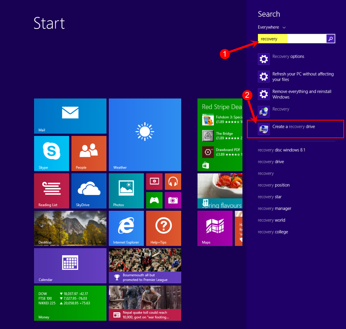 Create a USB Recovery Drive in Windows 8.1