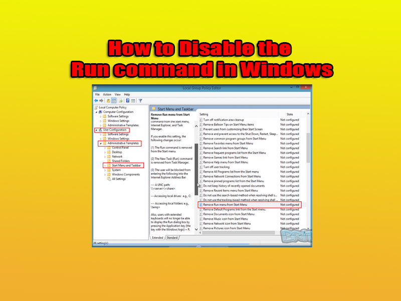 How to Disable the Run command in Windows