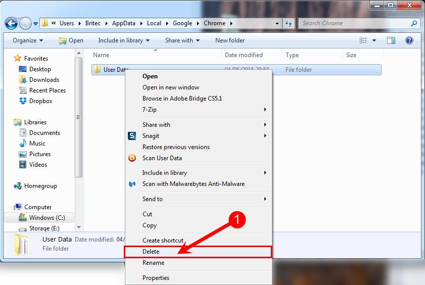delete user data folder