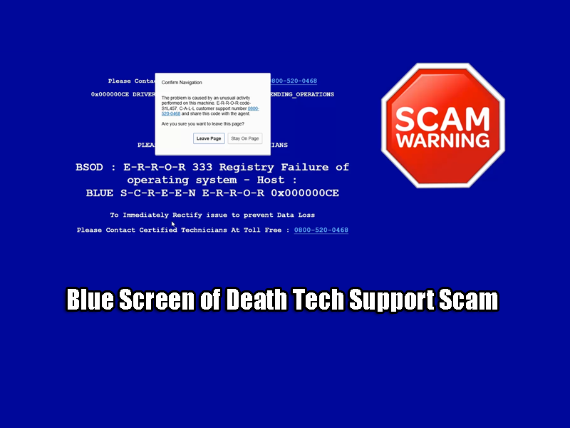Blue Screen of Death Tech Support Scam