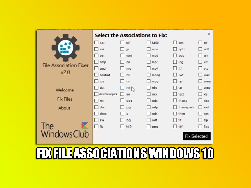 Fix File Associations Windows 10