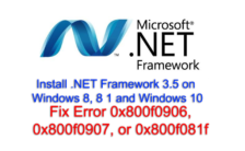 Install .NET Framework 3.5 on Windows 8, 8 1 and Windows 10