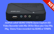 AGPtek 1080P HDMI YPBPR Game Capture HD Video Recorder with Mic-IN for Xbox 360 One PS3 PS4 - Extra Voice recorded via HDMI or YPBPR
