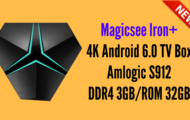 Magicsee Iron+ 4K Android 6.0 TV Box Amlogic S912 DDR4 3GBROM 32GB