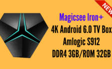 Magicsee Iron+ 4K Android 6.0 TV Box Amlogic S912 DDR4 3GBROM 32GB