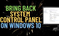 Bring back system control panel